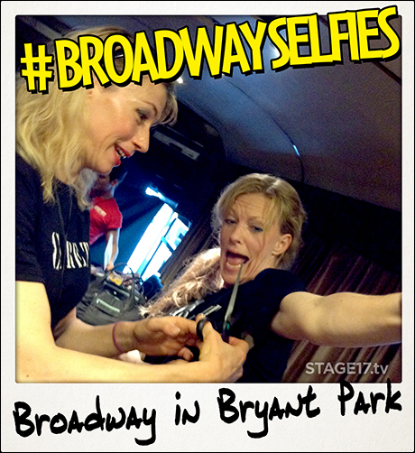 Talk about a dangerous quick change! Kristin Olness helps fellow Cabaret actress Stacey Sipowicz get into character.