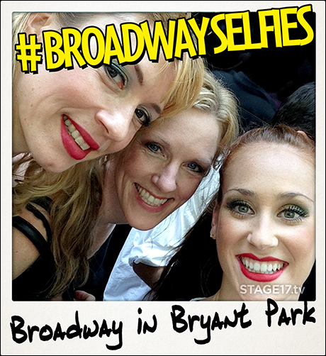 The ladies of Cabaret (Kristin Olness, Stacey Sipowicz and Kaleigh Cronin) after performing at Broadway in Bryant Park today.