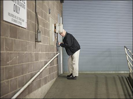 Ed Dixon entering the stage door.