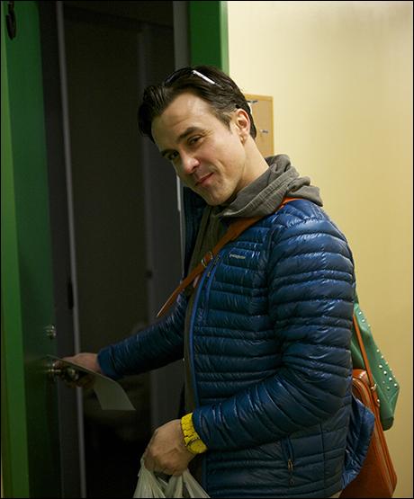Josh Walden entering his dressing room.