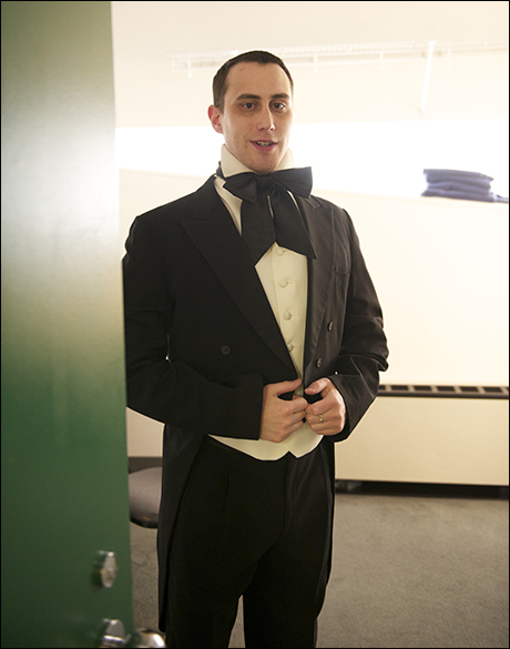 Music Director Paul Masse gets into his period conducting attire.