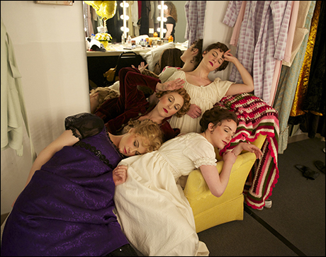 The matinee is exhausting and a fainting couch is the only solution for Stacie Bono, Liz Pearce, Trista Moldovan and Jessica Hershberg.