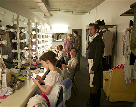 Jason Watson and Paul Masse pay a visit to dressing room B. With Trista Moldovan, Jessica Hershberg, Stacie Bono.