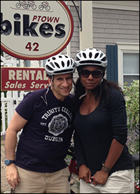 Seth and Audra get ready to bike