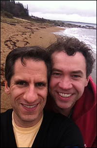 Seth and James on a cold, deserted beach in Maine