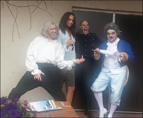 "Constantine Maroulis, myself, Todd Alan Johnson (Javert) and Kelly Briggs (Thenardier) strike our most ""rad"" Spinal Tap poses"