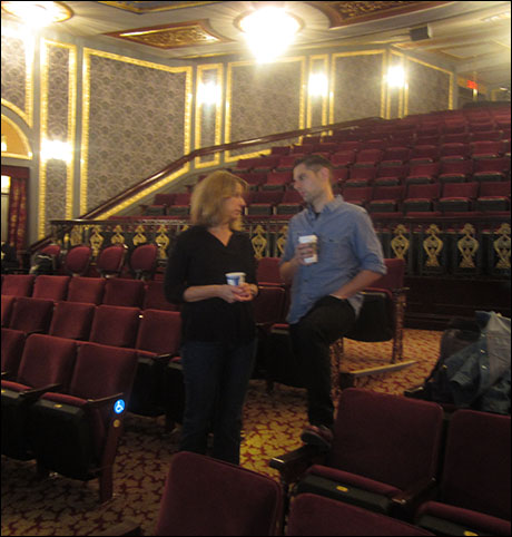Back at the theater, my stage manager, Kristen, and associate director, JV, chat before the next show.