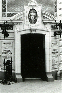 Entrance to the Shubert Theatre in 1913, with posters for its maiden production, a repertory of Shakespeare plays starring actor Johnston Forbes-Robertson.