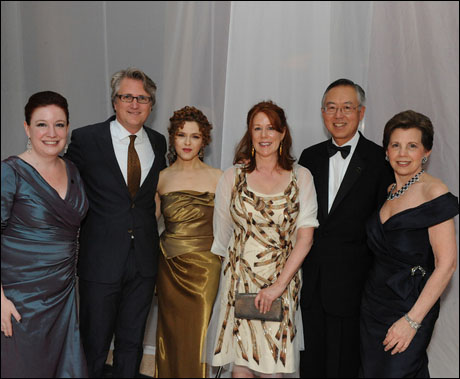 Managing director Maggie Boland, atistic director Eric Schaeffer, Bernadette Peters, gala chairs Mary Jo Shen and Ted Shen and philanthropist Adrienne Arsht
