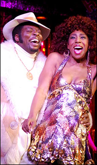 Harrison White and Dawnn Lewis in <i>Sister Act: The Musical</i>.