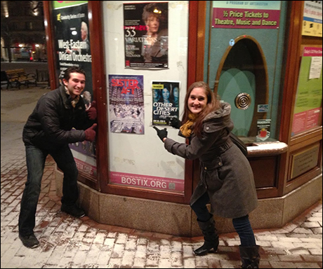 As soon as we got to Boston, Danny George and I took a little walk in the snow to explore. It was crazy how many cabs we saw drive by with Sister Act advertisements on them! We even found this cute little town square with our poster.