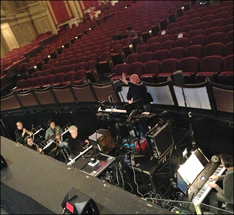 Our wonderful conductor and music director, Brent-Alan Huffman, leading our sound check in Boston.