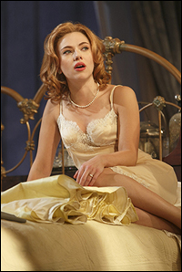 Scarlett Johansson in the new Broadway revival of <i> Cat on a Hot Tin Roof.</i>