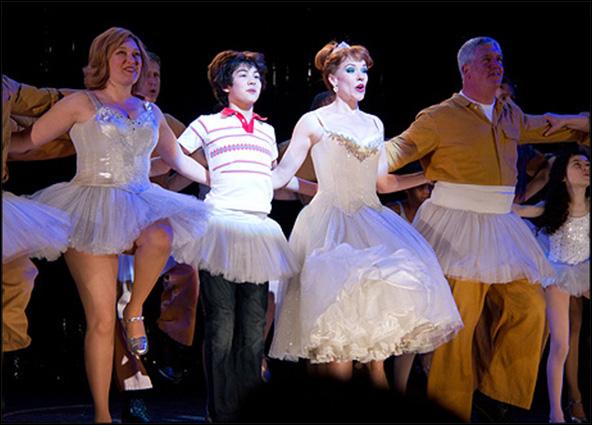 Laura Marie Duncan, Alex Ko, Emily Skinner and Gregory Jbara celebrate Billy Elliot's 1000th performance on Broadway. Apr 8, 2011