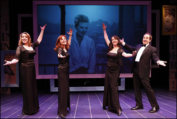 Emily Skinner, Lynne Halliday, Cameron Adams and Jason Graae in the 2014 York Theatre Company production Inventing Mary Martin