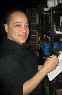Ken McGee, an Assistant Stage Manager at <i>Gore Vidal's The Best Man</i>, backstage at the Schoenfeld Theatre.