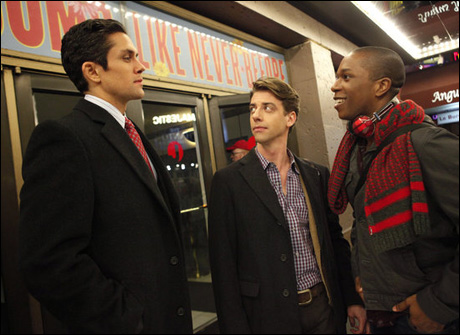 Neal Bledsoe, Christian Borle and Leslie Odom Jr.