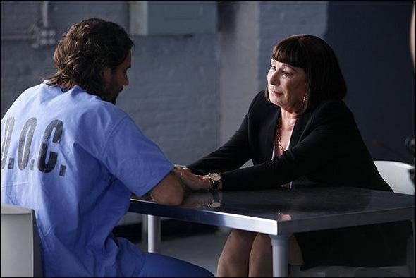 "Thorsten Kaye (""Nick"") and Anjelica Huston (""Eileen Rand"") in Season 2, Episode 5: ""The Read Through"""