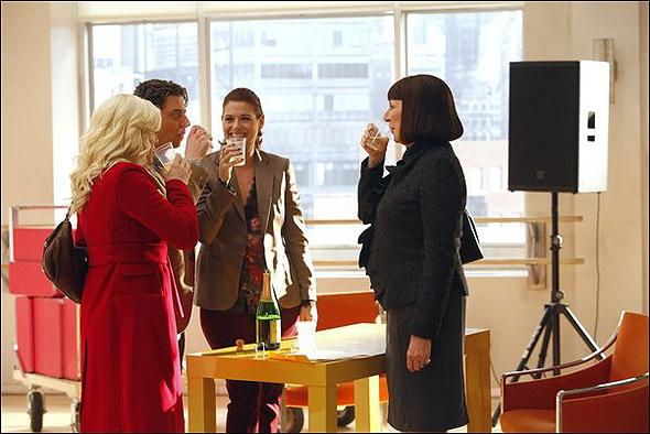 "Megan Hilty (""Ivy Lynn""), Christian Borle (""Tom Levitt""), Debra Messing (""Julia Houston"") and Anjelica Huston (""Eileen Rand"") in Season 2, Episode 7: ""Musical Chairs"""
