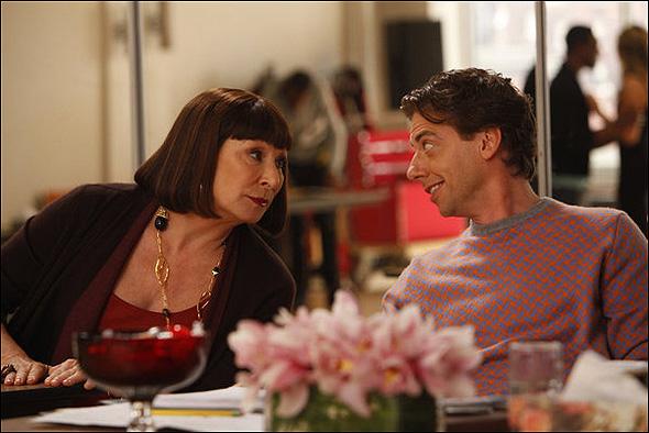 """Anjelica Huston (""""Eileen Rand"""") and Christian Borle (""""Tom Levitt"""") in Season 2, Episode 8: """"The Bells and Whistles"""""""
