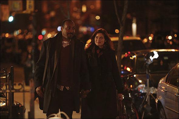 "Jesse L. Martin (""Scott Nichols"") and Debra Messing (""Julia Houston"") in Season 2, Episode 12: ""Opening Night"""