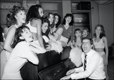 Hamlisch in rehearsal for Smile with Anne Bobby, Tia Riebling, Nikki Rene, Donna Marie Elio, Veanne Cox, Lauren Goler, Cheryl-Ann Rossi, Julie Tussey, Cindy Oakes and Jodi Benson, Sept. 1986