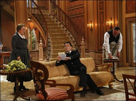 Kristine Nielsen as Frau Schmidt, Stephen Moyer as Captain Von Trapp, Sean Cullen as Franz