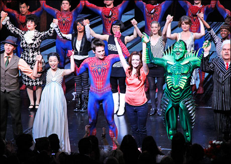 T.V. Carpio, Reeve Carney, Jennifer Damiano, Patrick Page and Michael Mulheren,Opening night curtain call for Broadway's  Spider-Man Turn Off the Dark, 2011