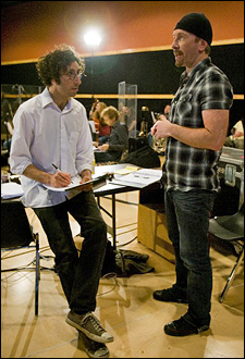Glen Berger and The Edge at SIR Studios in New York in April 2009