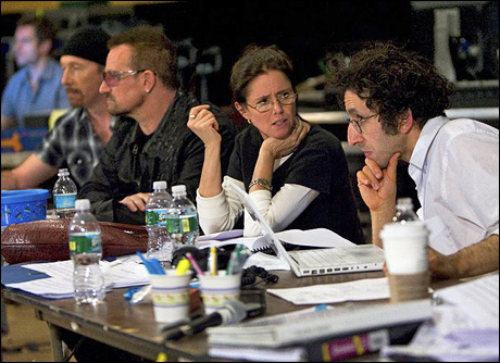 The Edge, Bono, Julie Taymor and Glen Berger at SIR Studios in New York in April 2009