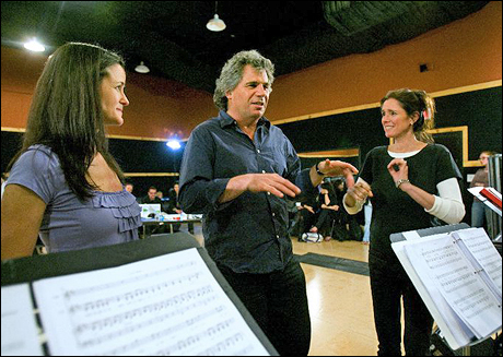 Music director Kimberly Grigsby, music Supervisor Teese Gohl and Julie Taymor at SIR Studios in New York in April 2009