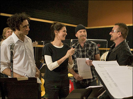 Glen Berger, Julie Taymor, The Edge and Bono at SIR Studios in New York in April 2009