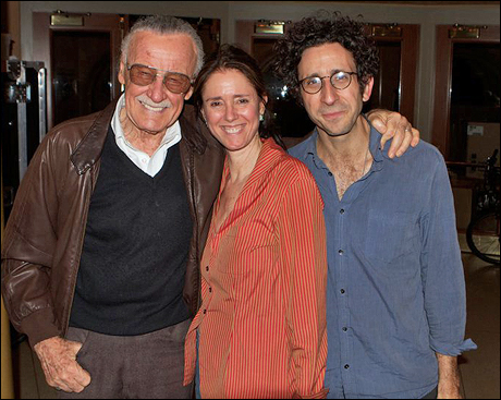 Stan Lee visits Julie Taymor and Glen Berger at a rehearsal