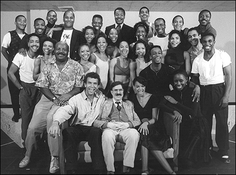 Brian Stokes Mitchell with David Merrick and the cast of Oh, Kay!