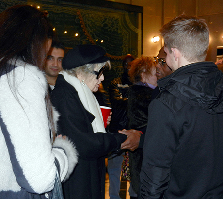 Stritch shakes hands with Nathan Lee Graham