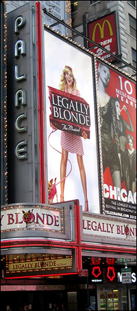 The marquee of <I>Legally Blonde</I> will light again.