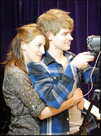 Kate Wetherhead and Andrew Keenan-Bolger on the set