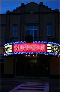 The theatre's marquee in Riverhead, Long Island, NY.