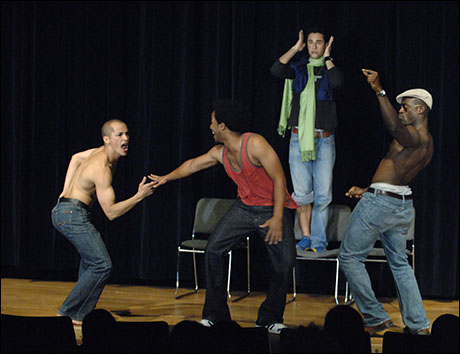 Company of Tarell McCraney's Wig Out including Arthur Acuna, Andre Holland and Sterling Brown in a final presentation at the 2007 Theatre Lab at the Sundance Resort