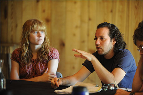 Pulitzer Prize winner Annie Baker and director Sam Gold rehearse Circle Mirror Transformation at the 2008 Theatre Lab at the Sundance Resort
