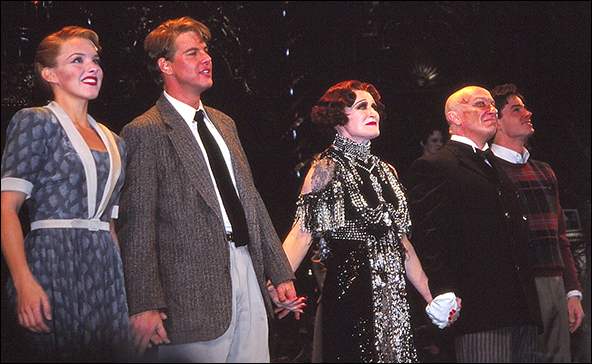Alice Ripley, Alan Campbell, Glenn Close, George Hearn and Vincent Tumeo during the Broadway opening night curtain call for Sunset Boulevard, November 17, 1994