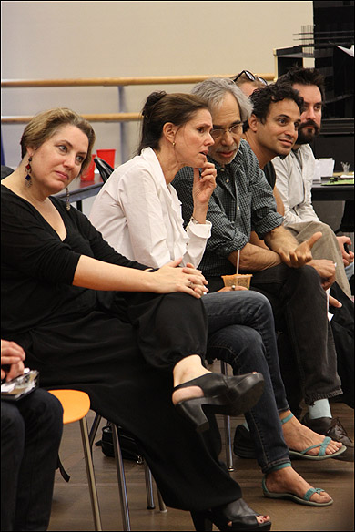 Constance Hoffman (costume designer), Julie Taymor (director), Jeffrey Horowitz (Founding Artistic Director, Theatre for a New Audience), Gregg Curtis (Airealistic Consultant), and Will O'Hare (Airealistic Consultant)