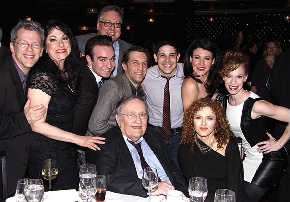 Douglas Carter Beane, Philip J. Smith, Bernadette Peters and the cast of Forbidden Broadway