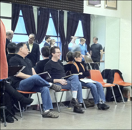 "After several days onstage, we had to squeeze into Nola Studios for a run-through. Seated from left are ""Keeper of the Keys"" Kevin Stites, Director Don Stephenson, and Choreographer Liza Gennaro."