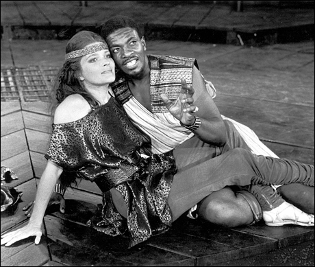 Kate Mulgrew and Keith David in Titus Andronicus,1989