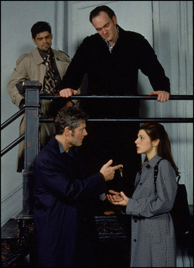 Ritchie Coster, Quentin Tarantino, Stephen Lang and Marisa Tomei in the 1998 Broadway production of Wait Until Dark