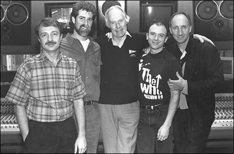 Joseph Church, Steve Margoshes, George Martin, Michael Cerveris and Pete Townshend in the recording studio for The Who's Tommy
