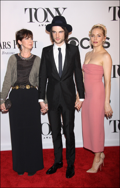 Tom Sturridge with his mother and Sienna Miller