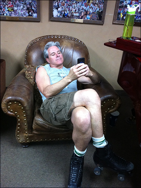 David Engel resting comfortably in the Greenroom