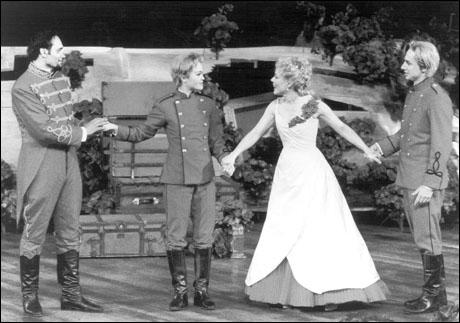 Jimmy Smits, Julia Stiles, Kathryn Meisle and Zach Braff in Twelfth Night, 2002